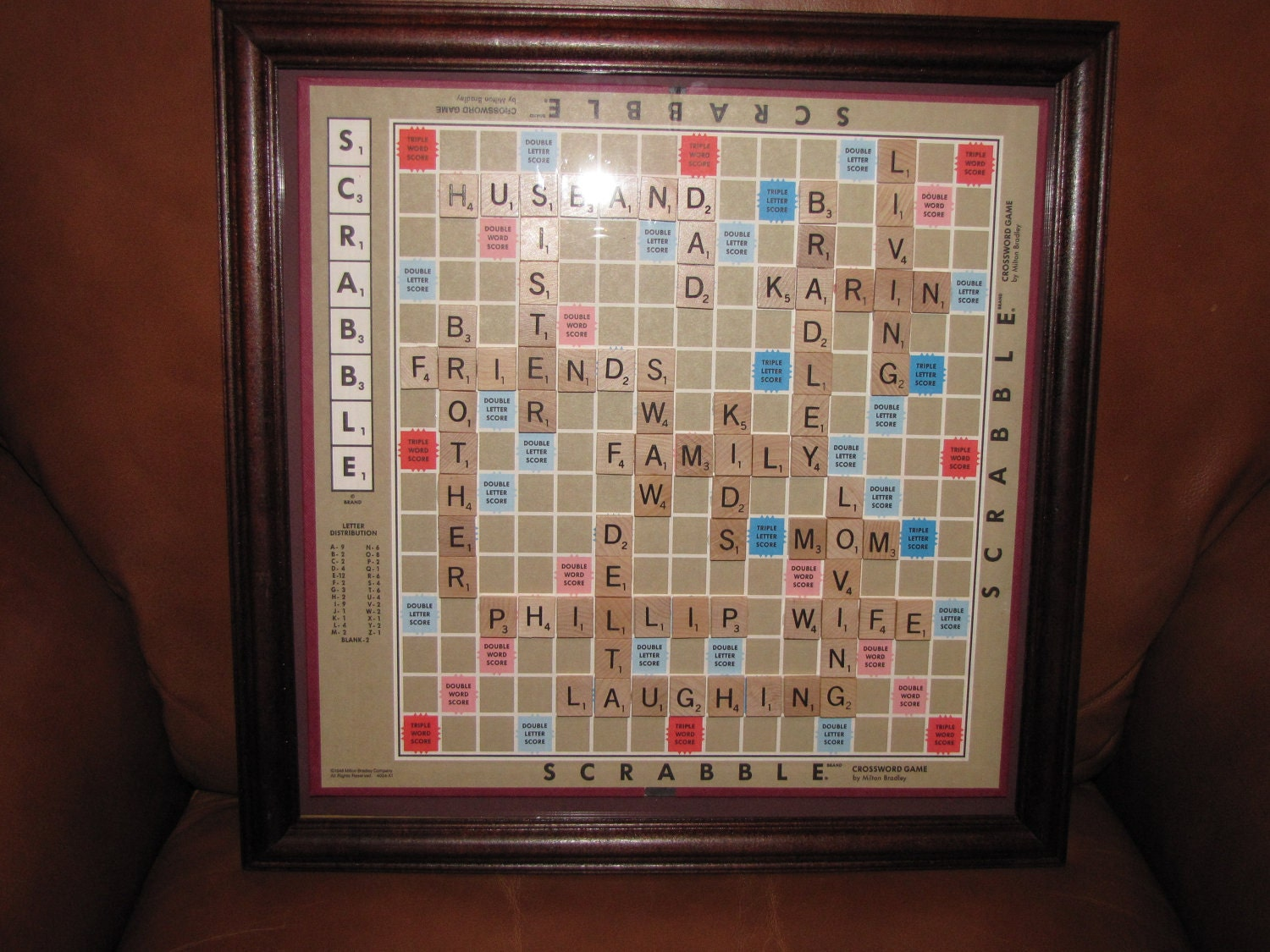 Personalized Scrabble Board Wall Art Framed Picture Home