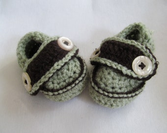 3-6 month Mint Chocolate Chip Crocheted Loafer slippers