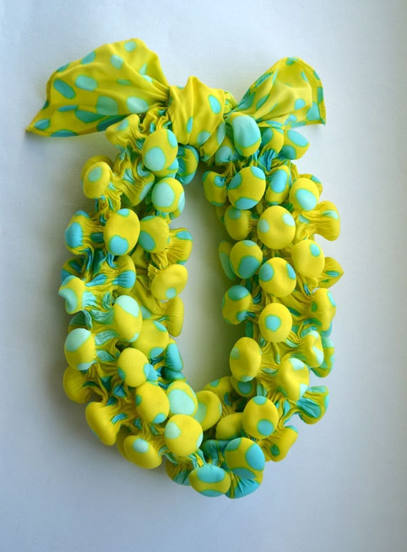 Yellow sharflette/ Polca dots sharflette/ colorful scarf/ spring accesories nO 1.