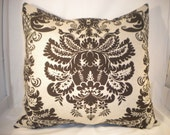 20 x 20 Choclate Damask Pillow Cover