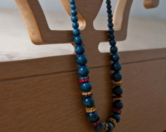 Vintage 60's Wooden Bead Necklace