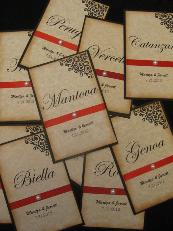 Vintage Inspired Italian Wedding Table Numbers , Wedding Table Cards