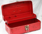 Vintage Red Rustic Rusty Industrial Urban Chic Metal Tool Box