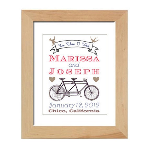 Personalized Wedding Gift:  Tandem Bicycle Art Print, 8 by 10 digital print, bird with banner
