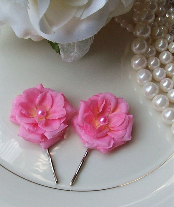 Pink Rose Hair Flower,Wedding Flower,Flower girl,Pink Wedding,Bridal Flower