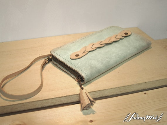 Hand-stitched and Dyed Zigzag-edge Leather Long Wallet Clutch