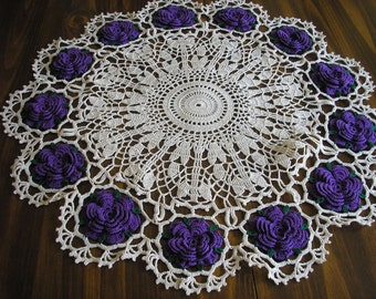 Purple American Beauty Doily / Roses / Dramatic / Vibrant