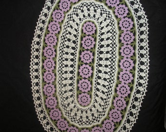Large Lilac Flower Doily Runner