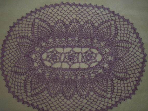 Lilac Oval Pineapple  Doily / Summer /