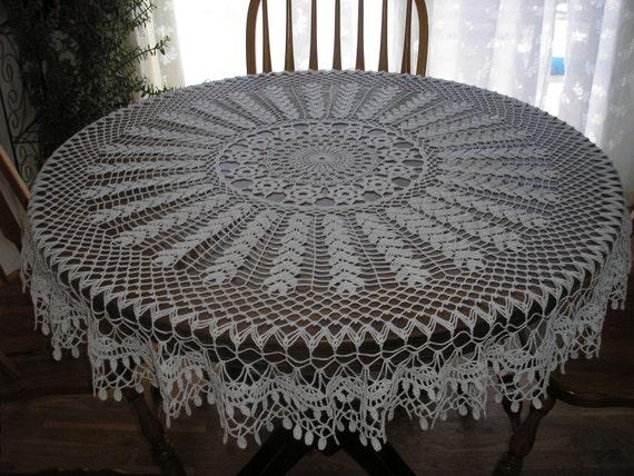 Round White Sampler Tablecloth