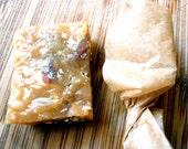 One dozen pecan and vanilla handmade organic fleur de sel caramels