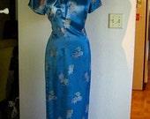 Chinoiserie Silk Teal Asian Full Length Dress