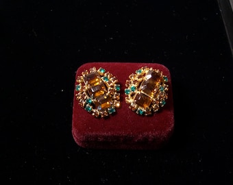 Juliana style earrings: topaz emerald rhinestone vintage ear clips