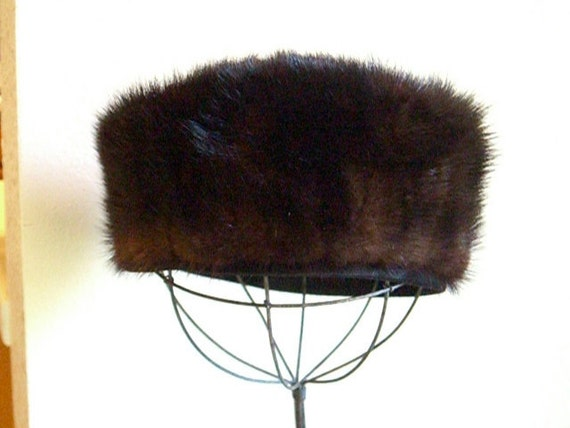 Sable vintage mink pillbox hat circa 50 to 60s