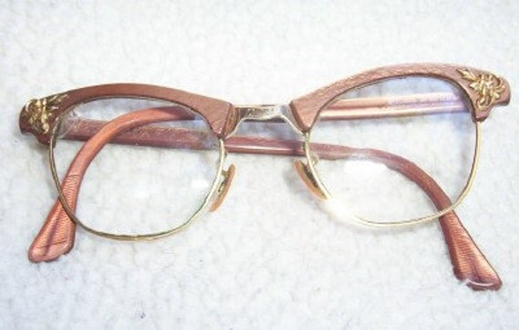 SALE 20 BUCKS Eye Glasses Stylin' Vintage Art Craft Brushed Copper Look Rims with Gold Filigree