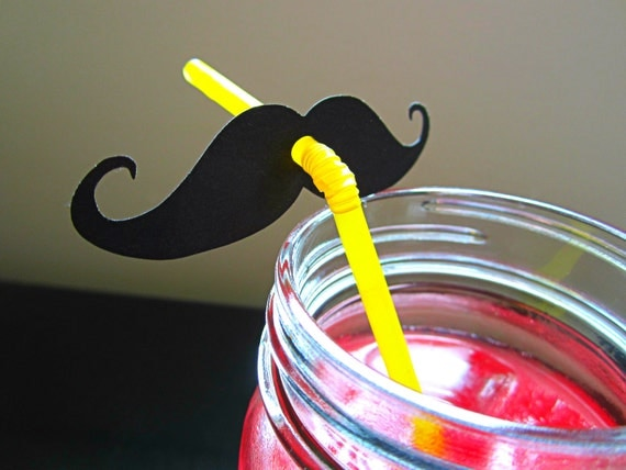 Mustache Party Stache Bash Straw Decorations