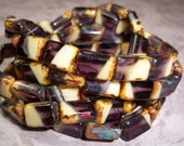 Purple Cream Bead 12x8mm Rectangle Czech Glass Picasso AUBERGINE (10)