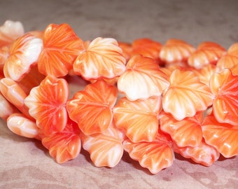 Orange Maple Leaf 10x13mm Bead Czech Glass White ORANGE SHERBET (10)