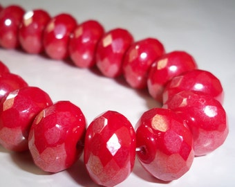 Coral Red Bead 9x14mm Faceted Rondelle CORAL SHIMMER (8)