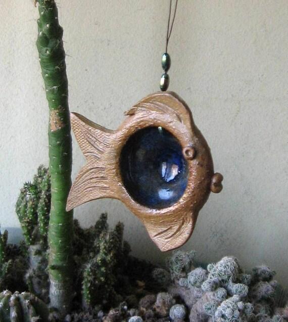 Ceramic fish ornament. Deep ocean eye,garden decoration.