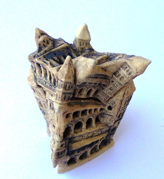 Ceramic candle holder, castle from my dream, Harry Potter castle