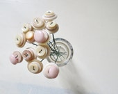 Pale Pink Vintage Button Flowers, Handmade Wedding Home Decor Ready to Ship Customs Available