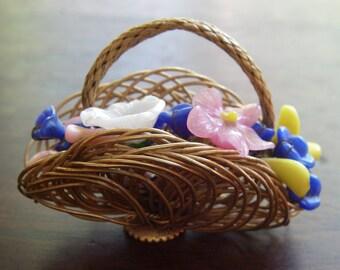 Vintage Hand Blown Glass Flower Brooch