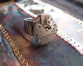 Steampunk Ring,  Clockwork Adjustable Ring: Offset