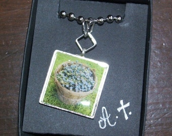 Basket of Concord Grapes Photo Necklace Garden Gems