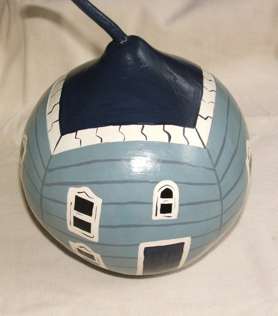 "Gourd art - Blue Victorian House, ""The Gourdons of Gourdonville"""