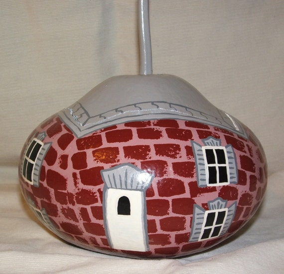 "Gourd art - Red Brick Victorian, ""The Gourdons of Gourdonville"""