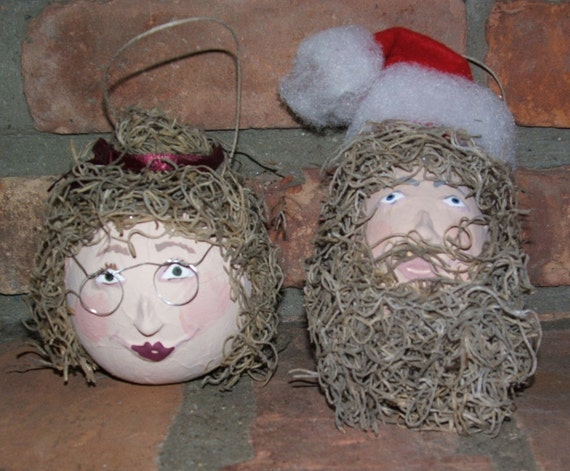 Santa and Mrs. Claus Gourd Ornament