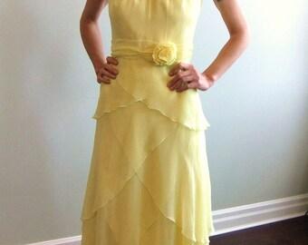 70s yellow chiffon maxi dress / halter dress / XS / S
