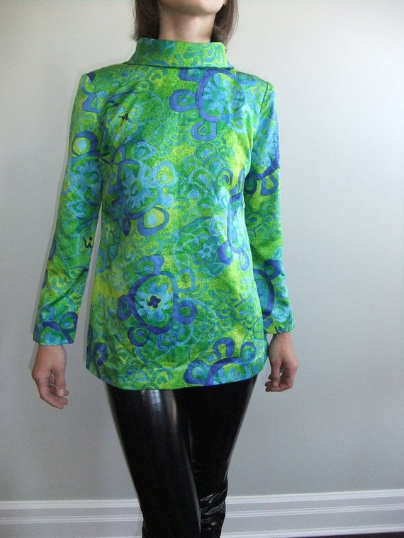 60s mod tunic, abstract shirt, blouse, greens, blues, psychedelic, s