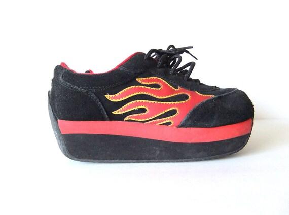 black suede platform sneakers, flatforms,  flames, wedges,  US 7