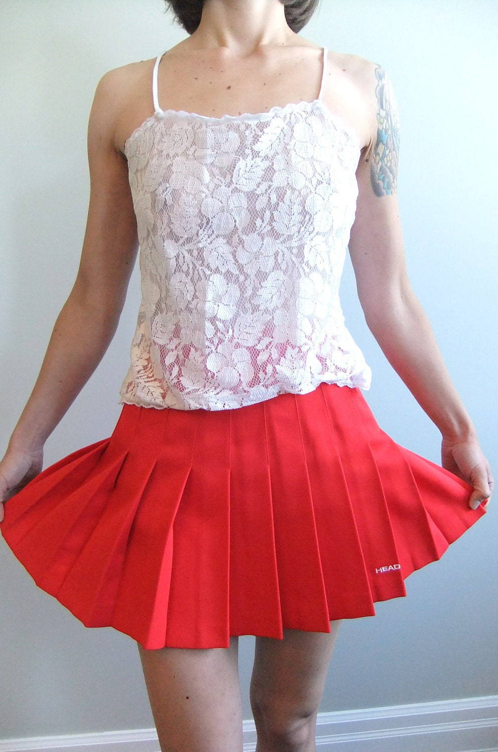 red pleated mini skirt 80s tennis skirt by HEAD size small