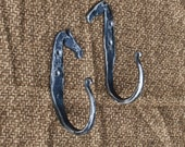 Pair of Hand Forged Horse Head, Equestrian Hooks, Blacksmith Made
