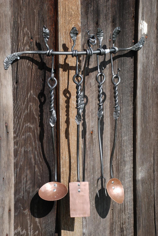 Hand Forged Kitchen Utensil Set W Leaf Detail
