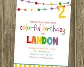 Rainbow/Colorful/Art Birthday Party Invitation