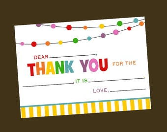 Fill in the Blank - Rainbow Thank You Card