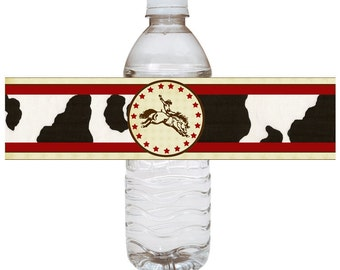 CowboyBirthday -  Water Bottle Labels