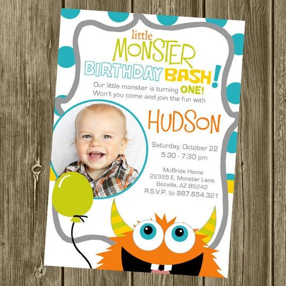 Monster Birthday Party Invitation - Photo Option