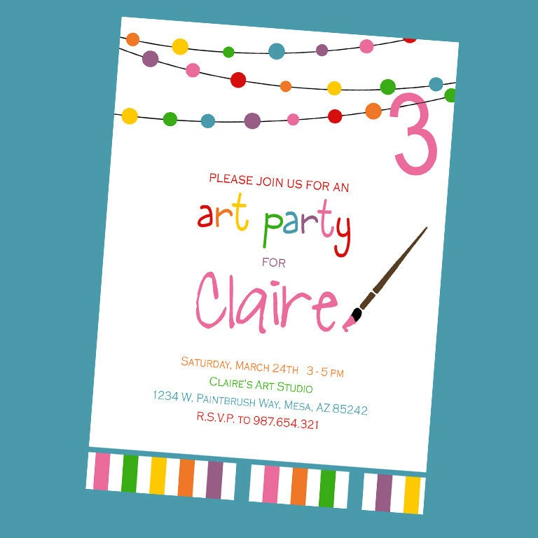 art birthday party invitation, Birthday invitations
