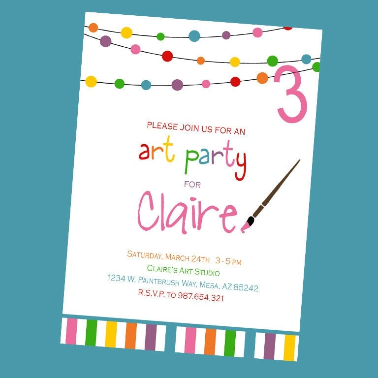 Art Birthday Party Invitations