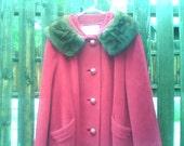 Vintage 1950s 1960s Cranberry Red Coat Mink Collar Medium Large