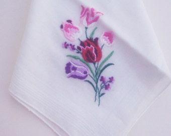Vintage 1950s Handkerchief/ Hankie/ Tulip Bouquet/Mothers Day
