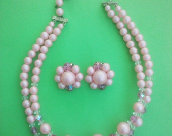 Vintage 1960s Pink Beaded  Necklace Earrings Demi Parure Mad Men Jewelry