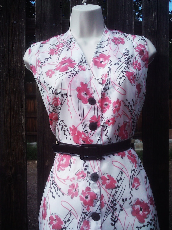 Vintage 1940s Dress/Floral/ Asian/ Cherry Blossoms/ Medium/ RESERVED