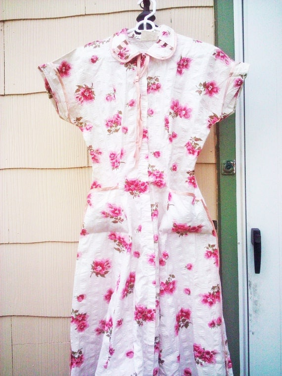 Vintage 1950s  Day Dress Rockabilly / Roses/Small/ Medium/ Housewife/New Old Stock/RESERVED