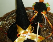 Felt Witch Hat and Magic Wand - Gold and Orange - Sale